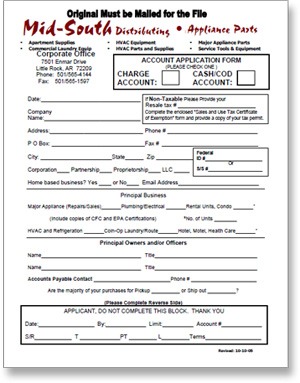 Mid-South Credit Application